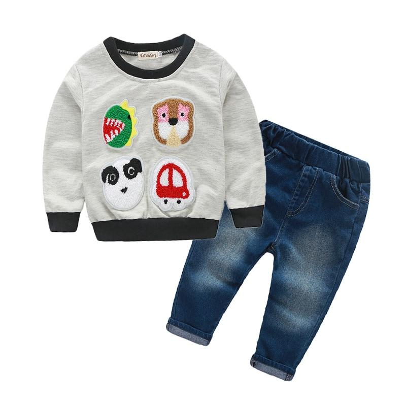 2018 Spring Autumn Newborn Baby Girls Boys Clothes Sets Infant Cotton Suit Casual Style Cartoon Kids T Shirt+Pant Children Suits
