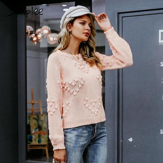 Simplee rose hairball automne hiver chandails dames O cou à manches longues pullover décontracté 2019 nouvelle mode pull tricoté en vrac