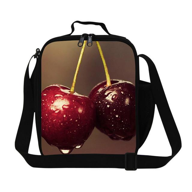 2016 Niños de Las Mujeres Bolsas de Almuerzo 3D Cereza Frutas Imprimir baberos Almuerzo caja Pequeña Térmica Termica Lancheira Bolsa de Picnic Bolsa de Comida Para La Oficina