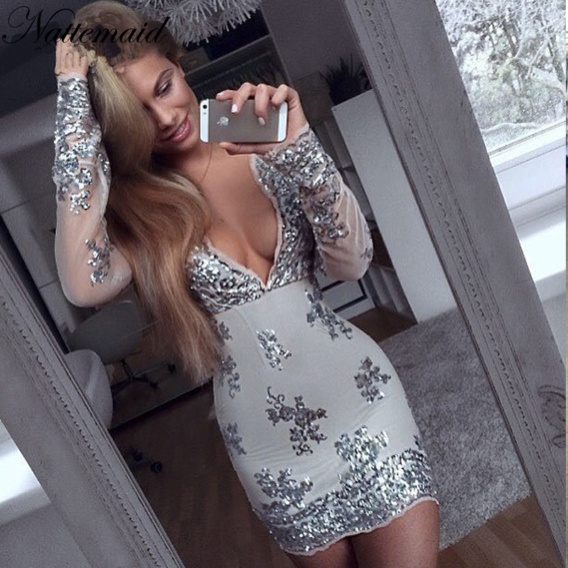 d9e273c6ae181 US $25.35 5% OFF|NATTEMAID 2017 Fashion Women Long sleeve sequined dresses  Sexy Drop V neck Gold Sequined Stitching dress 5 color High quality-in ...