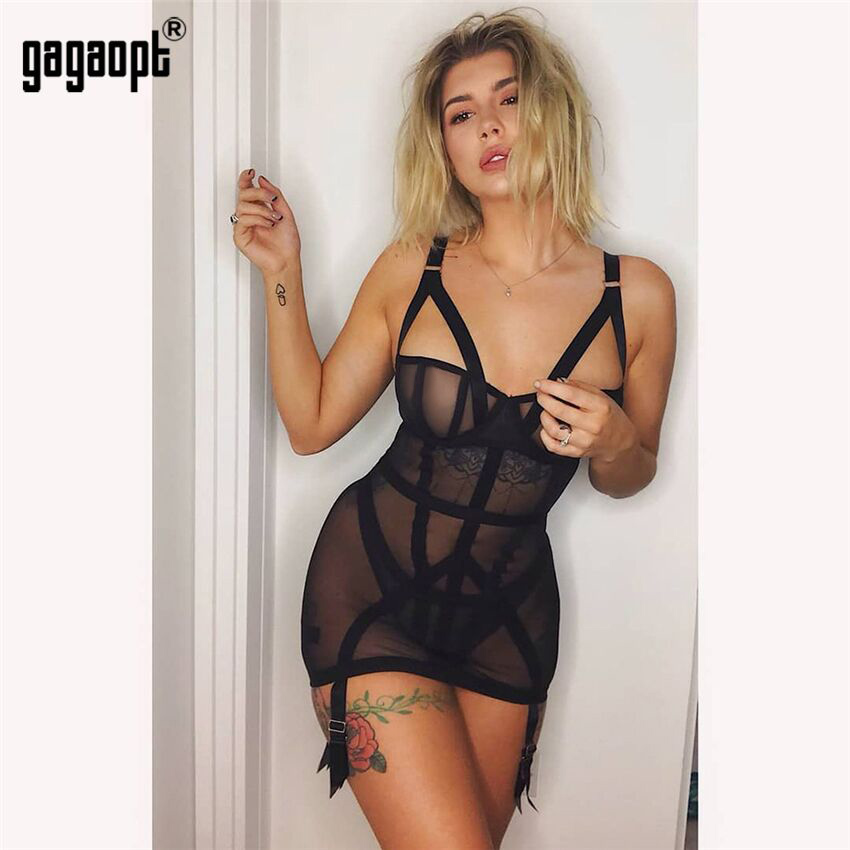 Gagaopt 2019 Mesh Kleid Frauen Sexy Kleider Perspektive Schwarz Mode Mini Bodycon Kleider Club Vestidos Roben