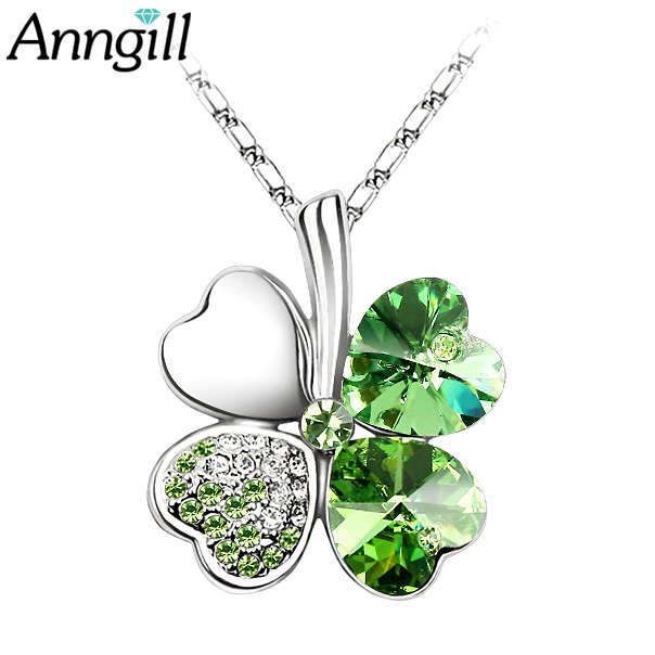 Anngill Four Leaf Clover Pendant Necklace Crystals From Swar