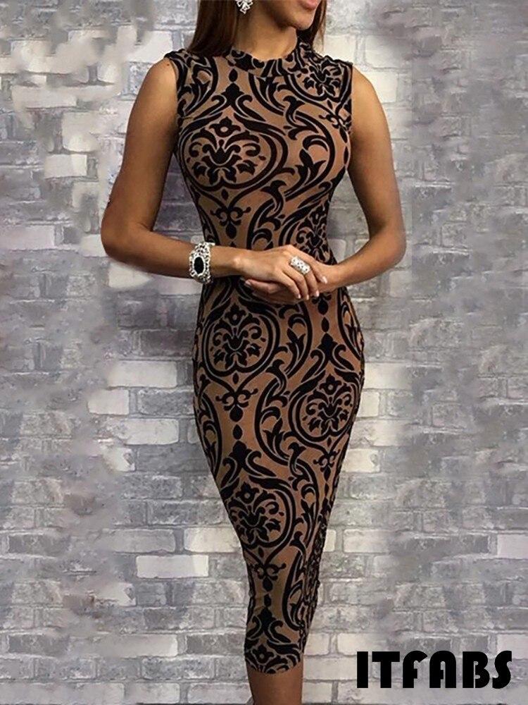 HTB1jV.Tai 1gK0jSZFqq6ApaXXar Women Summer Sexy Dress Bodycon Sleeveless O-Neck Pencil Skinny Pattern Print Evening Party Club Mid Calf Dress