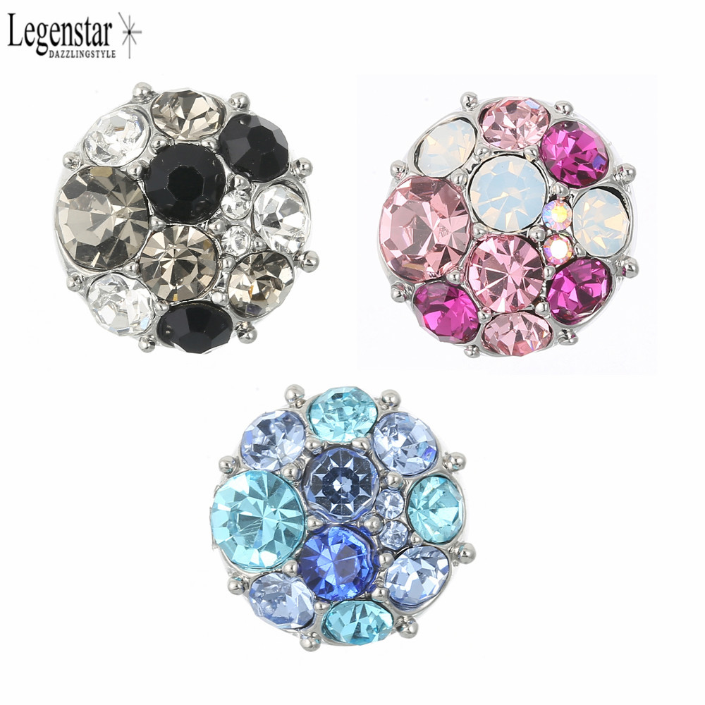 Legenstar <font><b>12MM</b></font> <font><b>Snap</b></font> <font><b>Button</b></font> Flower <font><b>Jewelry</b></font> Colorful Crystal Charm DIY <font><b>Snap</b></font> Gift For Women Fit Necklace Bracelet Bangle Earring image