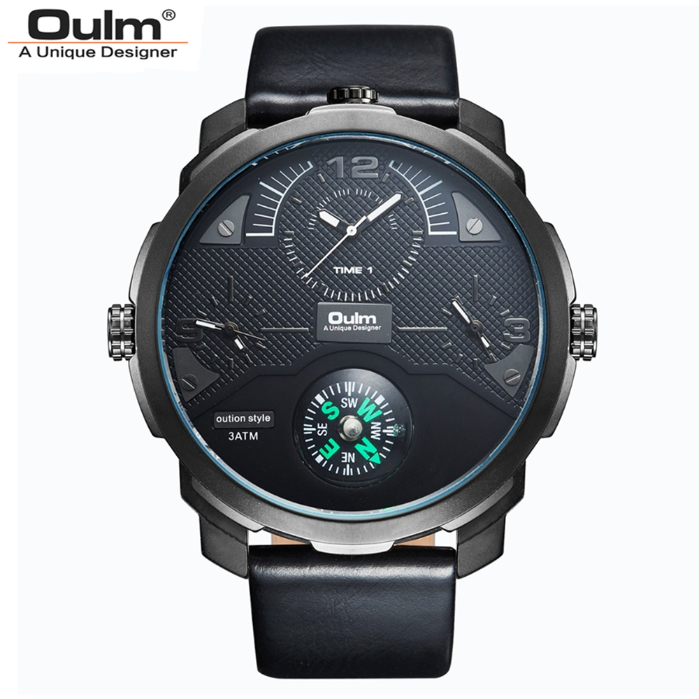 Oulm Brand Men PU Leather Strap Quartz Watch 30M Waterproof Multiple Time Zones Big Dial Wristwatch With Compass For Decoration  high quality 30 m waterproof effort new men fashion luxury famous brand men s leather strap sports watch multi time zones
