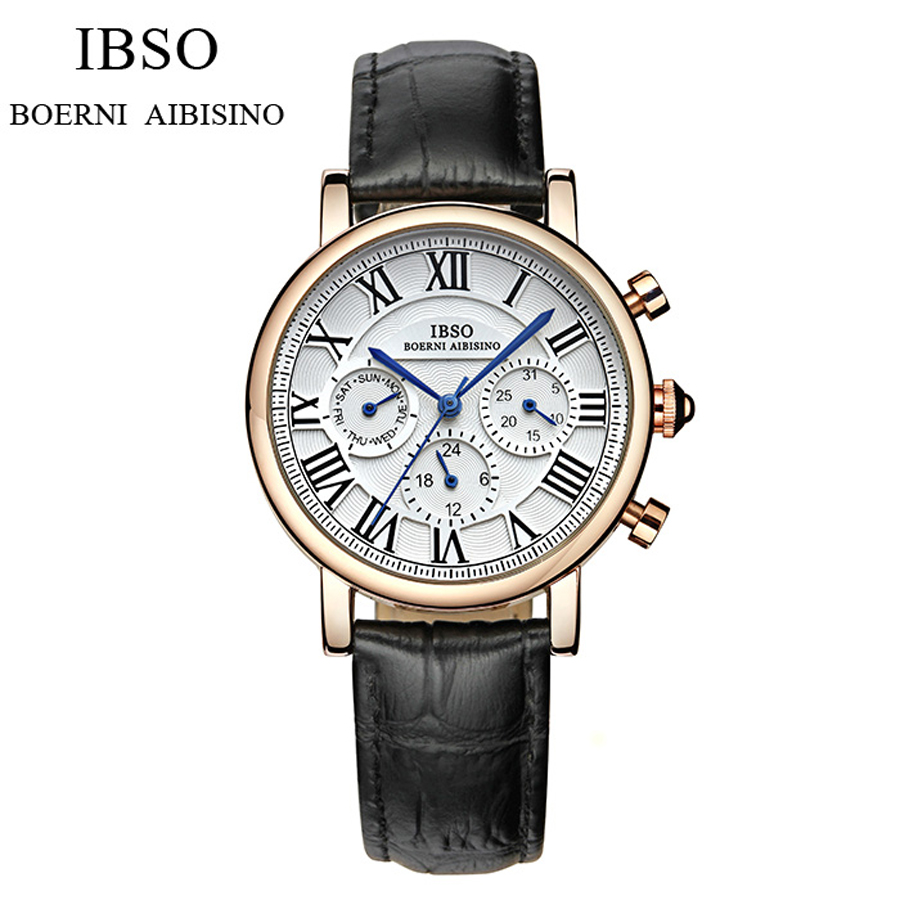 2016 IBSO Fashion Quartz Watch Women Leather Wrist Watches Ladies Wristwatch Girls quartz-watch Female Clock Relogio Feminino leather fashion brand bracelet watches women ladies casual quartz watch hollow wrist watch wristwatch clock relogio feminino
