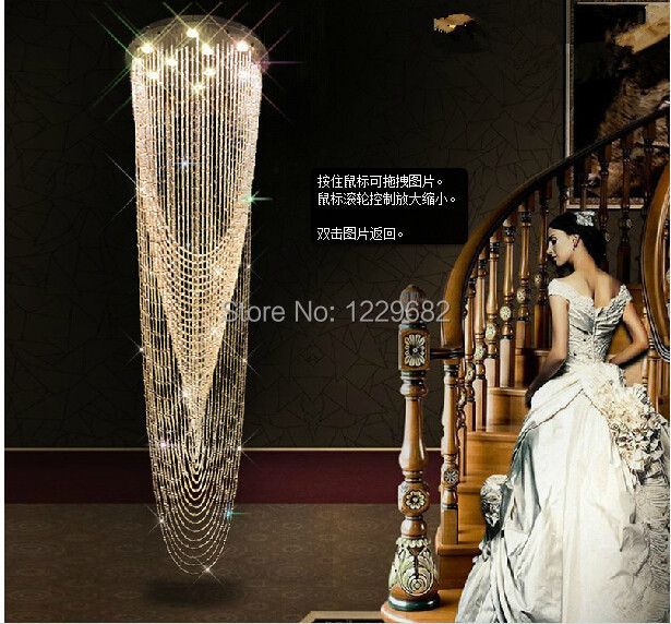 2014 modern large stair crystal chandelier .Huge hotel lobby villa upstair curtain chandelier light for luxurious hotel hall купить