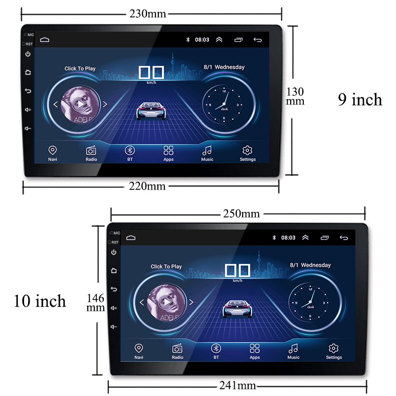 9/10 inch Android 8.1 universal Car Radio 2 din android car radio DVD Player GPS NAVIGATION WIFI Bluetooth MP5 Player image