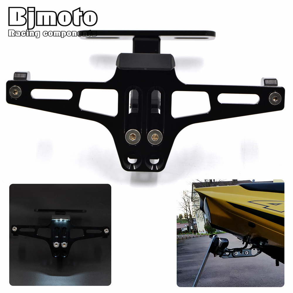 BJMOTO New Motorcycle Adjustable Angle Aluminum License Number Plate Frame Holder Bracket Universal For Honda CB1000 Yamaha mt07 smaart v 7 new license