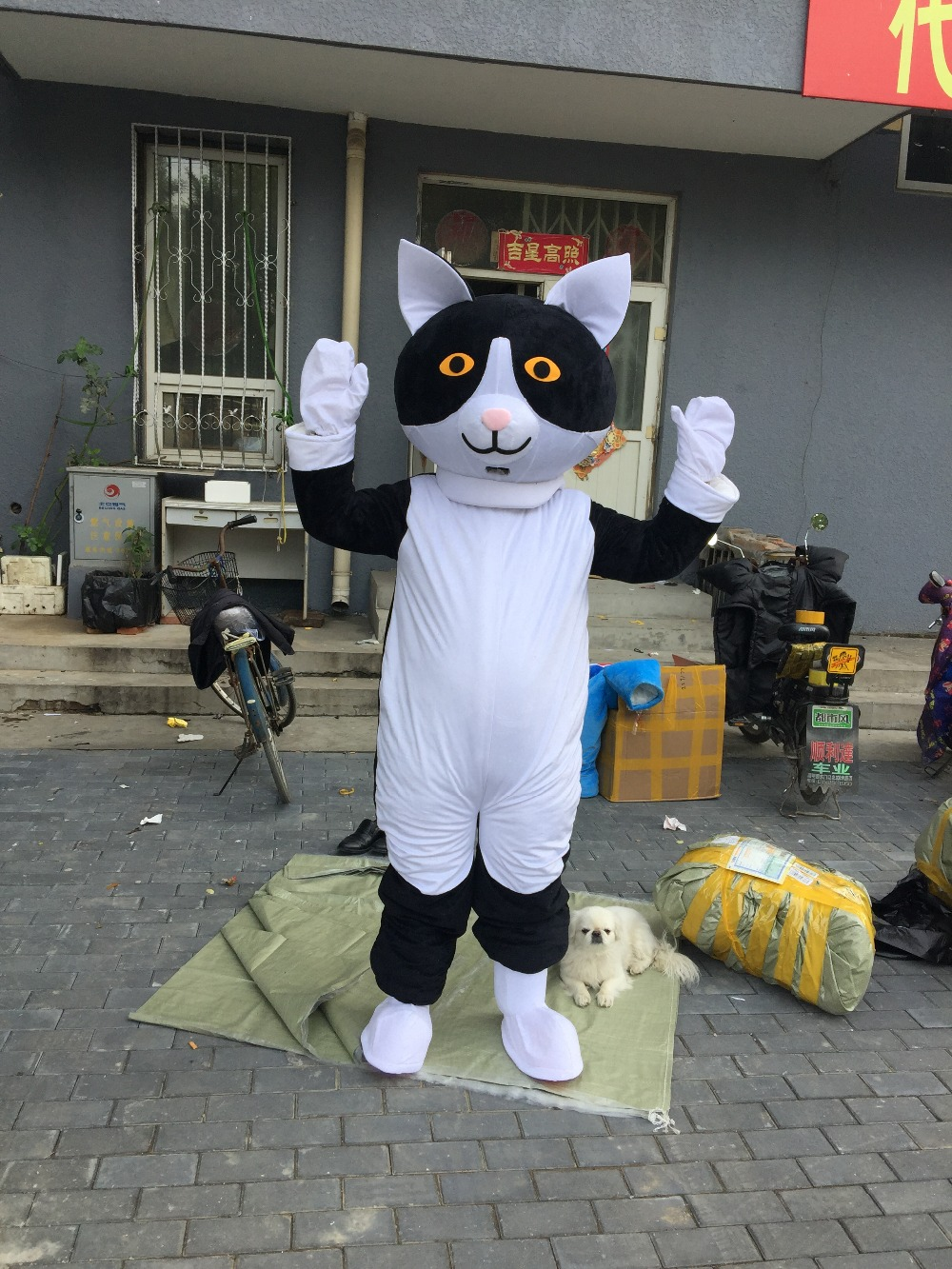 black and white cat mascot costumes for adults circus christmas Halloween Outfit Fancy Dress Suit Free Shipping
