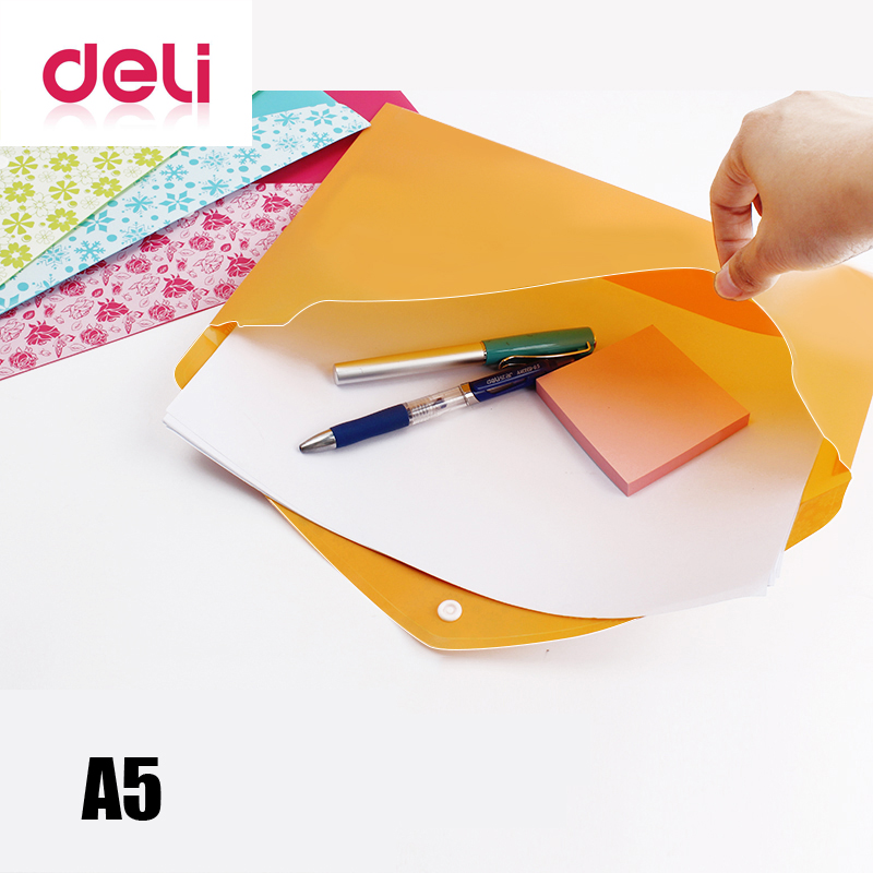 Deli Best Price 1pcs Color Fashion A5 Thick Snap Button Pocket File Bag Document Bag Plastic Folders
