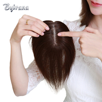 Bybrana 8 Inch Straight Human Hair Remy Hair 2 Clip In Middle Part Top Closure 100