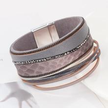 Flashbuy Rhinestone Wide Leather Bangles for Women Rhinestone Wave Pattern Female Multilayer Bracelets Female Wholesale Bracelet