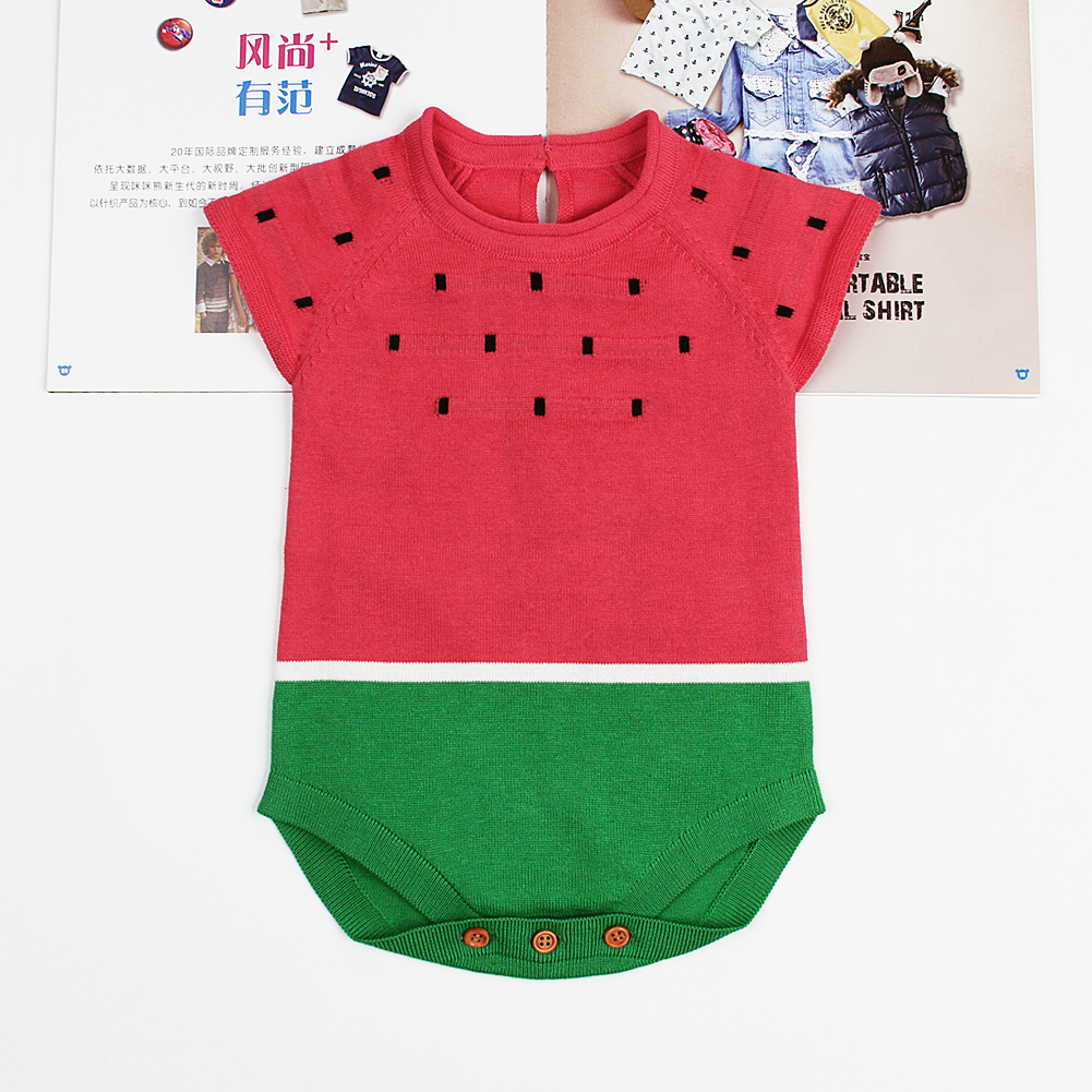 Cute Watermelon Knitting Toddler Girls Bodysuits Casual Short Sleeves Newborn Baby Coverall Summer Outerwear Infant Onesie 0-18M