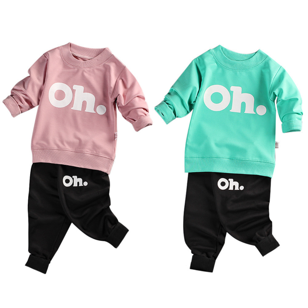 New hot seeling 2PCS Fashion Baby Long-sleeved Sweats Set Toddler Sweater Letter Pattern Sweatsuit Outfits for Kids Boys Girls