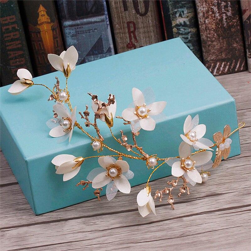 White Flower For Hair Wedding: Women White Flower Pearl Hair Ornament Headband Bride