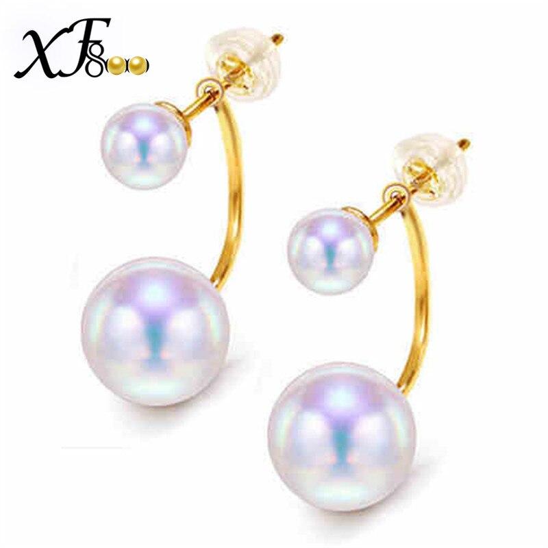 XF800 boucles d'oreilles en perles de mer AKOYA naturelles 8.5-9mm boucles d'oreilles Double face grande taille véritable 18 K/au750 bijoux en or jaune A02