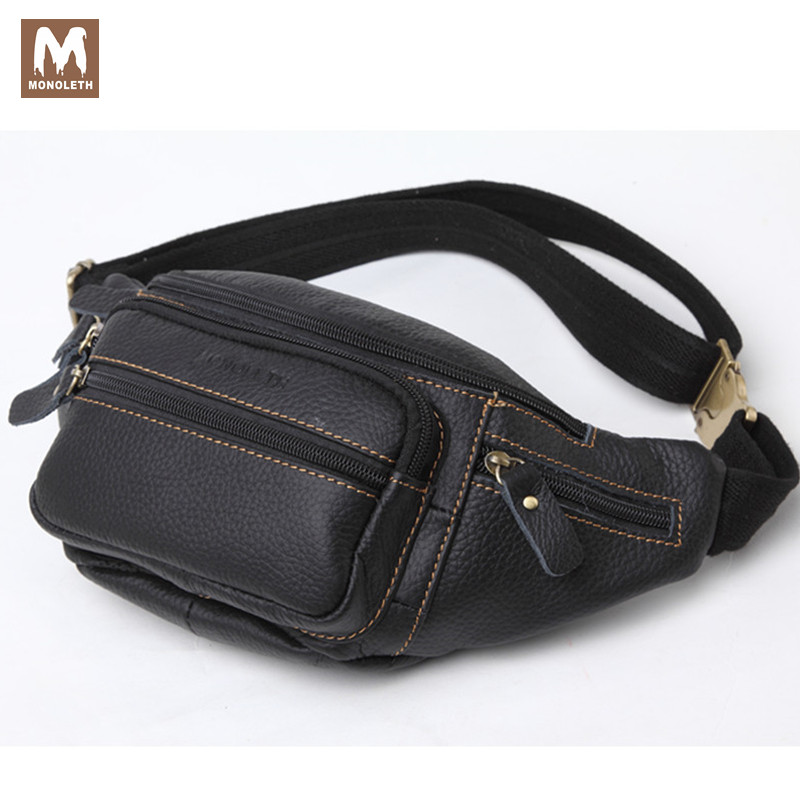 MONOLETH Men's Genuine Leather Waist Pack Travel Bag For Men Ipad Bag Mental Buckle Belt Casual Small Bags Crossbody Bag W6003 brand logo new multifunctional genuine leather waist pack for men women bags travel belt bag money pouch
