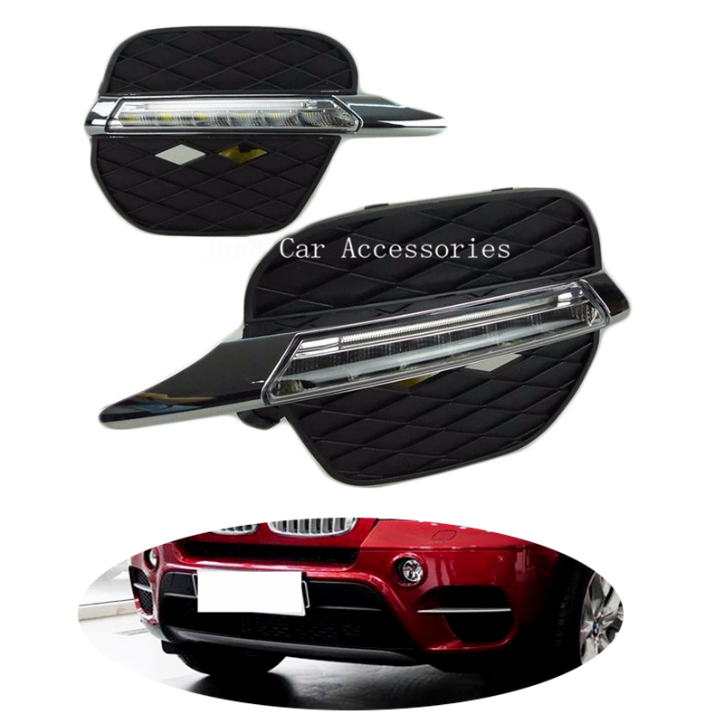 Day Lights For BMW X5 E70 2011 2012 DRL 12V LED Daytime Running Light Daylight Waterproof Fog Head Lamp 2PCS Super Brightness цены