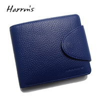 Harrms Luxury Brand Genuine Leather Women Purse Cowhide Blue Color Women Wallets With Card Holder Coin