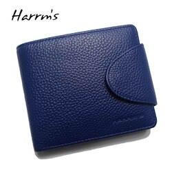 Harrms Элитный бренд пояса из натуральной кожи кошелек femal коровьей синий цвет для женщин женские кошельки с держатель для карт карман для