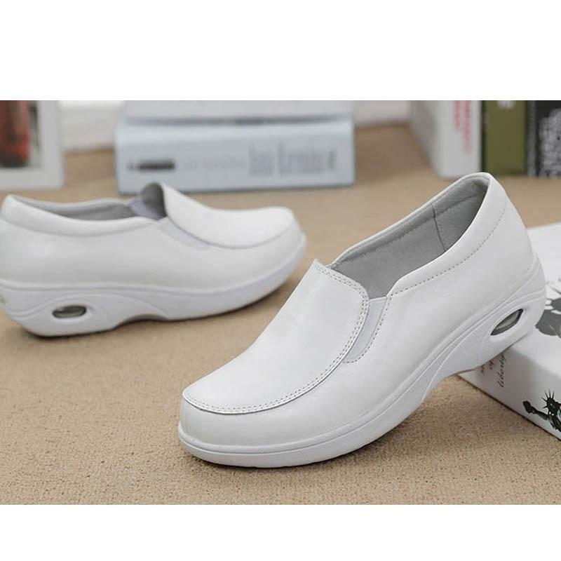 90069ae02aa Blanco Doctor De Snurulangenuine Wqqtrcx Casual Zapatos Genuino Masaje Para  Plataforma Mujer 372 Cómodos Planos Trabajo ...