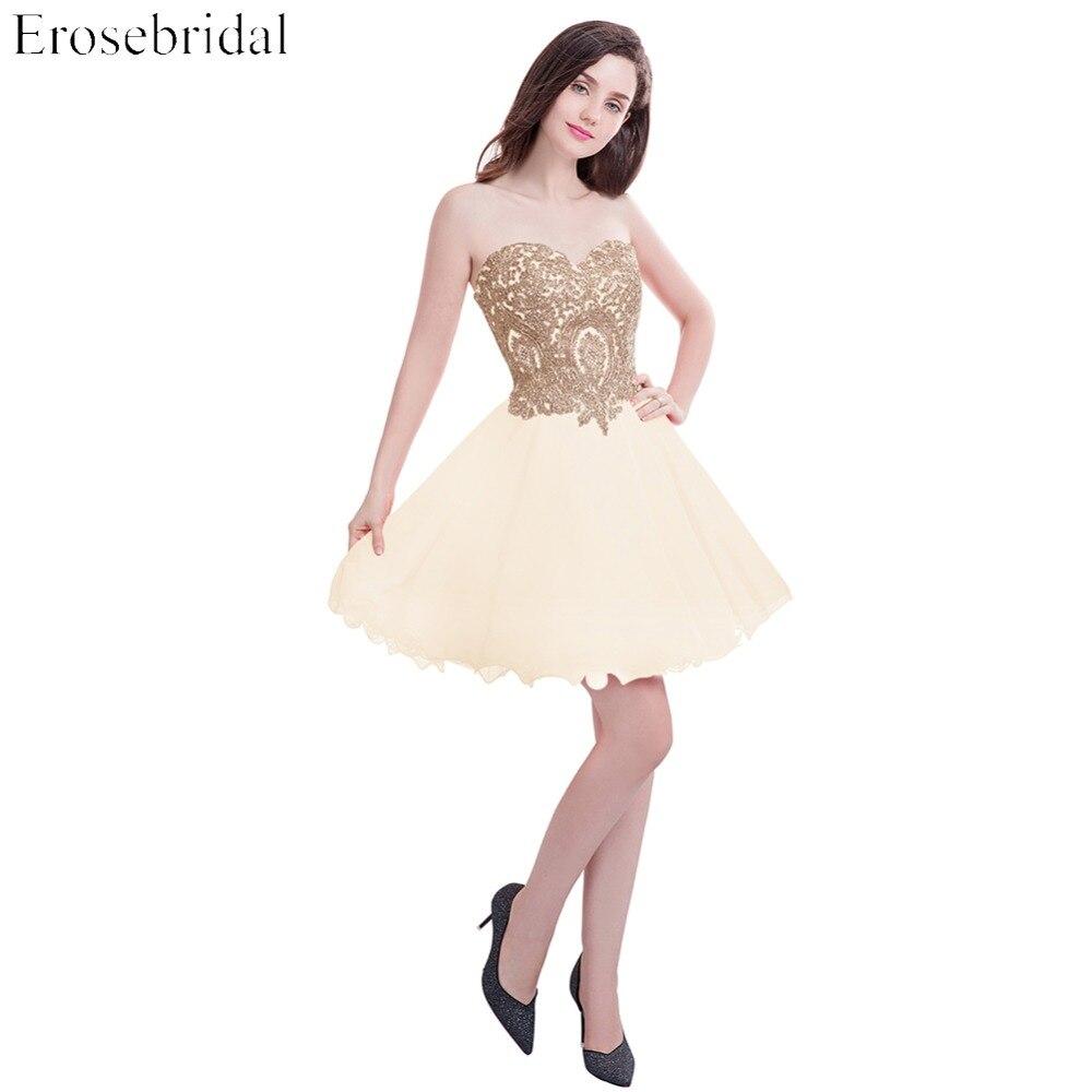 Erosebridal Short   Evening     Dress   Sleeveless homecoming   dress   Strapless   Evening   Gown Gold Applique   dress   robe de