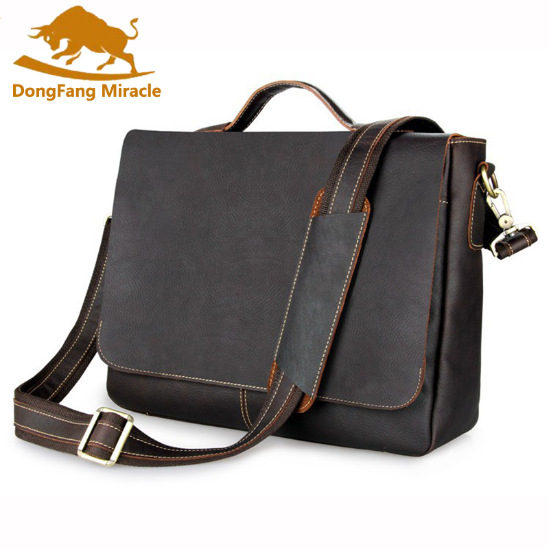 DongFang Miracle vintage business computer bag men bags 100% genuine leather Mens Briefcases Handbag Messenger bagDongFang Miracle vintage business computer bag men bags 100% genuine leather Mens Briefcases Handbag Messenger bag