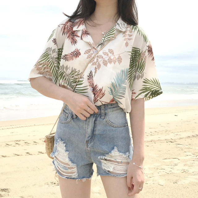 96c4e580fbbf62 Morrowwind Women Short Sleeve Notched Print Floral Blouse Shirt Blusas  Feminino Casual Summer Loose Hawaiian Shirts Beach 2018