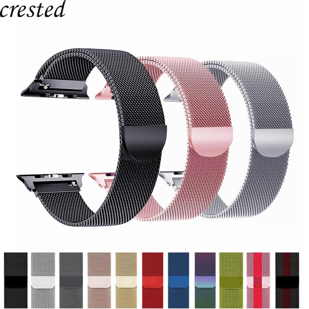 Correa de reloj Apple Watch banda 42mm/38mm iWatch 4 banda de 44mm/40mm pulsera Milanese Loop correa de reloj de pulsera de acero inoxidable reloj de Apple 4/3/21
