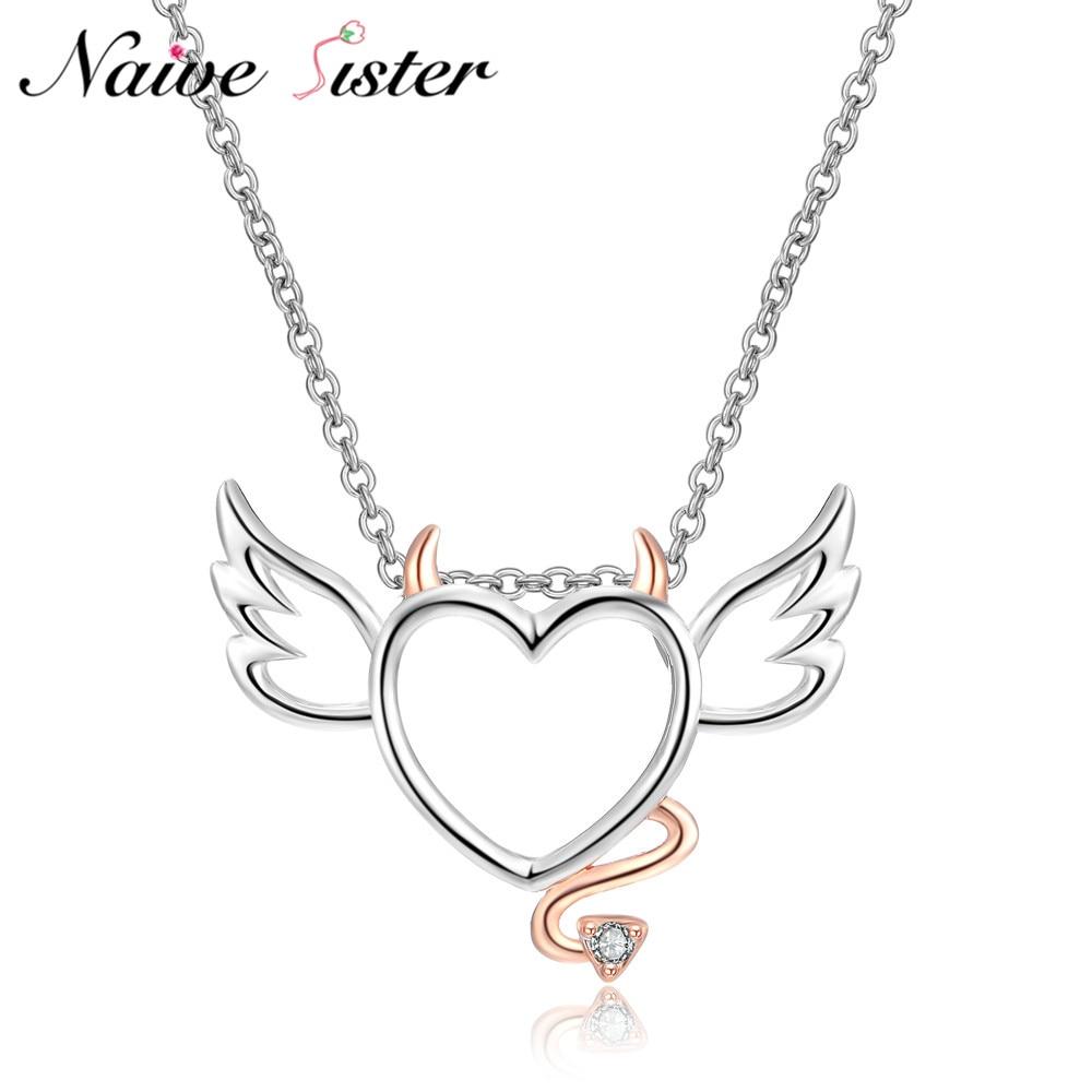 Милые сердце с крыльями и хвосты Подвески розовое золото Цвет Подвески для девочек Для женщин любовь заявление Jewelry чертенок