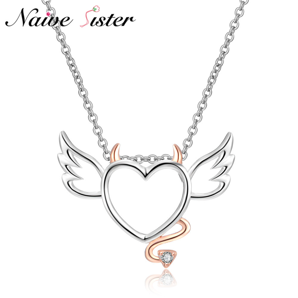Cute Heart With Wings and Tails Pendants Rose Gold Color Pens