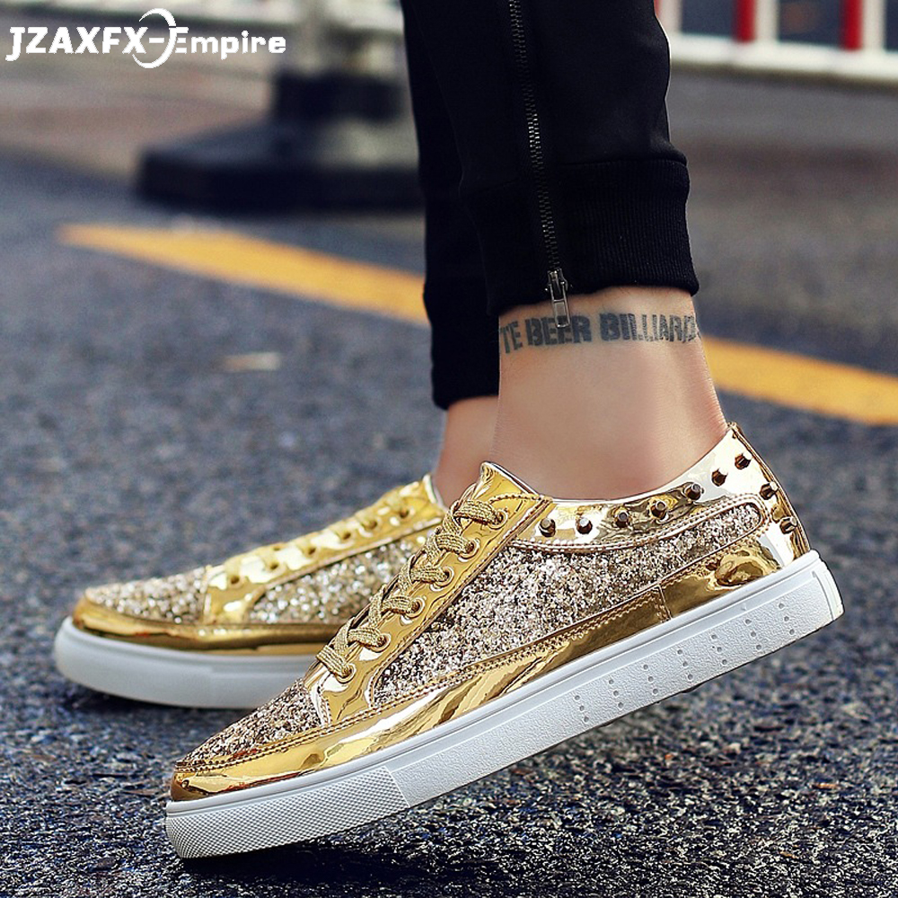 2019 Men Flat Shoes Golden Sequined Design Comfortable Casual Shoes for Men Party Footwear Top Quality Gold Sliver Shoes
