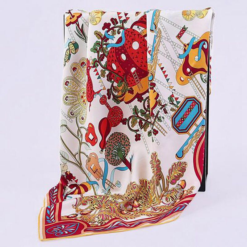 Classic Print 100% Twill Silk Scarf 90 High Style Women's Head Scarves Luxury Hand Rolled Edges Birthday Gifts