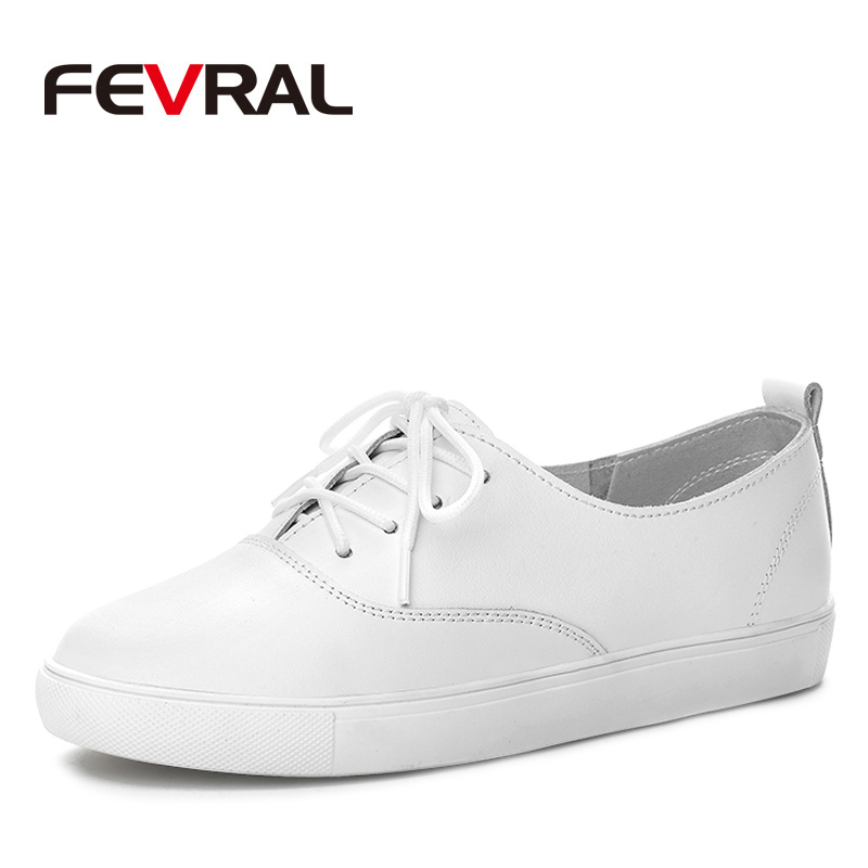 FEVRAL New Hot 2018 Genuine Leather Woman Flats Casual Breathable Comfortable Woman Shoes Lace Up Moccasins Fashion Size 35-40 2017 summer new women fashion leather nurse teacher flats moccasins comfortable woman shoes cut outs leisure flat woman casual s
