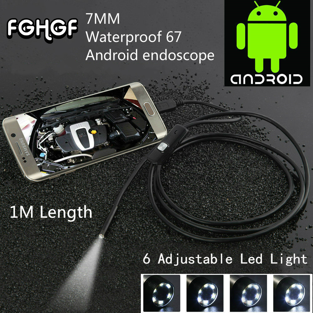 FGHGF Waterproof 480PHD 7mm lens Inspection Pipe 1m Endoscope Mini USB Camera Snake Tube 6 LEDs Borescope For Android PC HotSale stardot usb endoscope android mini camera 7mm lens ip67 waterproof inspection borescope camera flexible snake tube endoskop