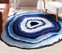 Natural Kiss Living Room Carpet Mat Soft Comfortable Bedroom Mats Children's Room Round Tree Ring Blue White Carpets Home Decor