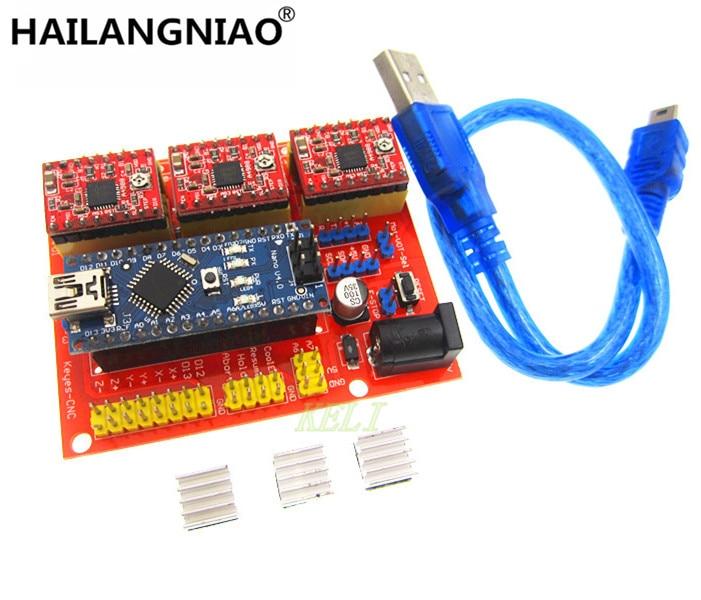 HAILANGNIAO 1SET 3DV4 CNC Shield V4 + Nano 3.0 + 3pcs A4988 Reprap Stepper Drivers Set