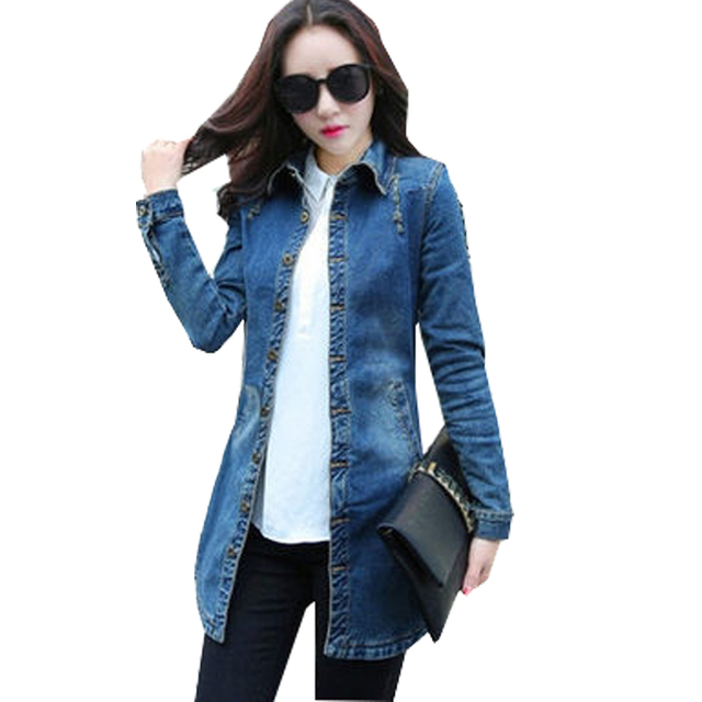 50c0c39e8eef9 Vintage Women Denim Jacket Nice Woman Casual Washed Jean Jacket Slim Holes  Zipper Long Jean Coat
