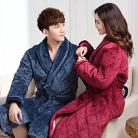 Winter Autumn Coral Fleece Couples Bathrobe Thick Quilted Flannel Bathrobe Thickening Terry Women Cotton Robe Men