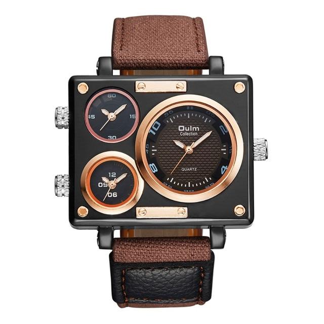 62a4e03193b Brand OULM Original Fashion Design Canvas Big Rectangular Face 3 Japan movt  Casual Quartz Wrist Watch