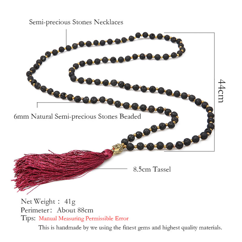 Balibali Colorful Long Tassel Gold Palted Buddha Head Prayer Necklace Lava Stone Black Beads Handmade Beaded Ethnic Necklaces