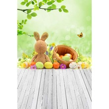 Easter backdrop Vinyl Photography Background Easter Eggs Rabbit Toy Green Grass Children Backdrops for Photo Studio GE-029 стоимость
