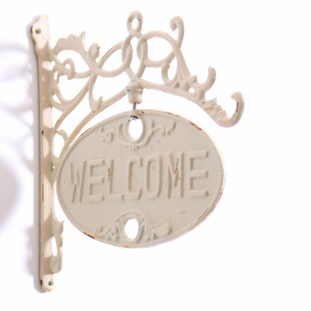 European Vintage Home Decor Iron Cast Welcome Sign Board Plaques Bar ...