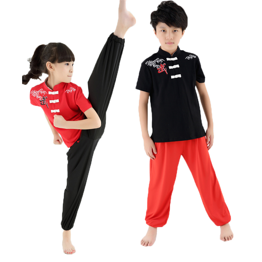 Новый высокое качество дети короткий рукав ушу форма Практика Обучение костюм для выступлений костюмы для тай-чи мальчиков и девочек
