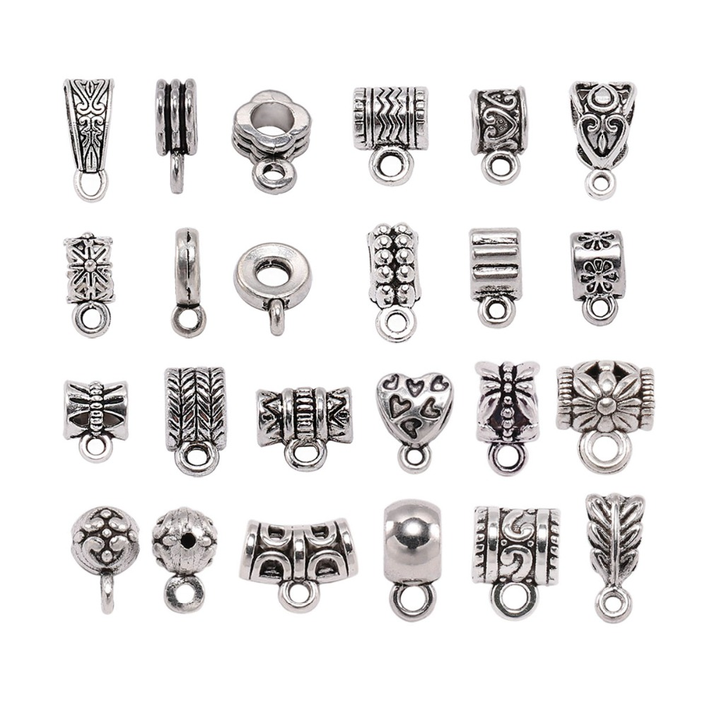 20pcs/lot Antique Silver Clip Bail Beads Pendant Clasp Necklace Connector Bail Beads For Jewelry Making Findings DIY Supplies