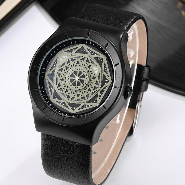 Geek Watches Men Minimalist Turntable Dial Quartz Watch Clock  Leather Mesh Band Male Wristwatch Relogio Masculino Gift For Men 2