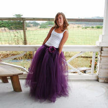 Best Quality Purple Tulle Long Skirt Female Ball Gown Draped Puffy Tulle Tutu Skirts Womens Maxi Long Skirt Faldas saia jupe