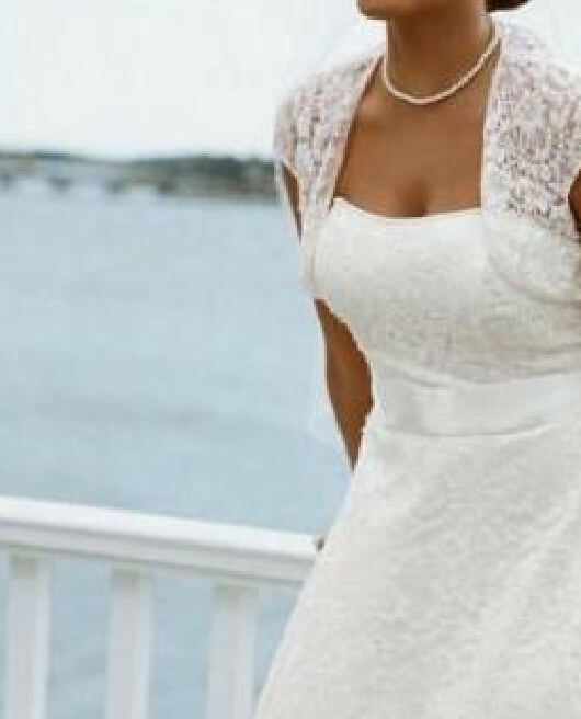 New Style Strapless Tea Length Lace Short Sleeve Plus Size Wedding ...
