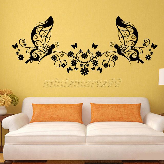Personality Butterfly Fairy Flowers Art Decal Wall Stickers For Home ...